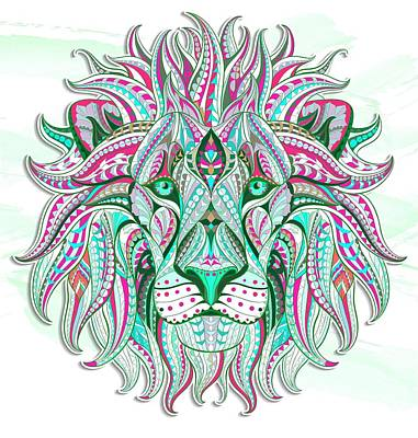 Painting - Sea Green Ethnic Lion by Aloke Creative Store