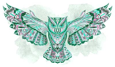 Painting - Sea Green Gray Ethnic Owl by Aloke Creative Store