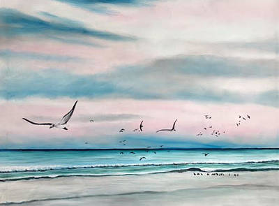 Painting - Sea Gulls On The Gulf by Lloyd Dobson
