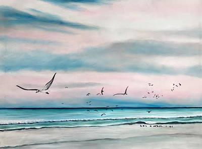 Painting - Sea Gulls On The Gulf by Lloyd Dobson