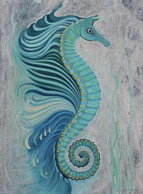 Painting - Sea Horse Visit by Tone Aanderaa