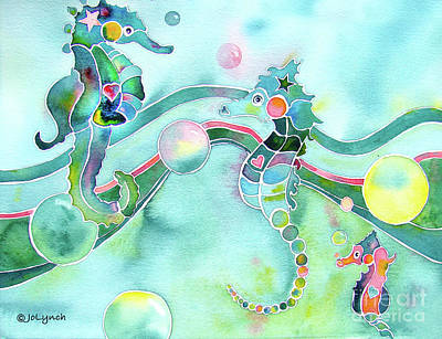 Painting - Sea Horses Dance Prints  by Jo Lynch