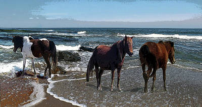 Digital Art - Sea Horses by Joyce Wasser