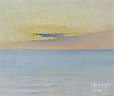 Painting - Sea In Sunset by August Wilhelm Nikolaus Hagborg