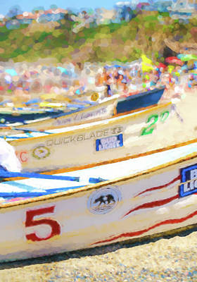 Row Boat Digital Art - Lifeboats Ready To Race Watercolor by Scott Campbell