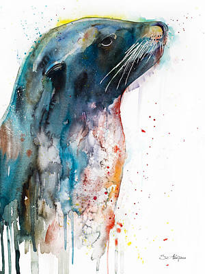 Lion Illustrations Painting - Sea Lion by Slavi Aladjova