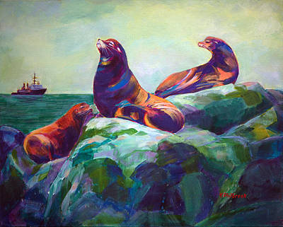 Sea Lions On The Rocks Original by Val Philbrook