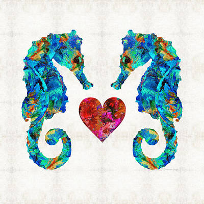 Sea Lovers - Seahorse Beach Art By Sharon Cummings Art Print by Sharon Cummings