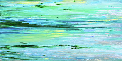 Painting - Sea Meets Land Panoramic Painting by Gina De Gorna