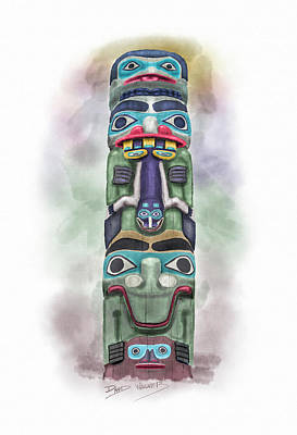 Totem Pole Painting - Sea Monster Pole by David Wagner
