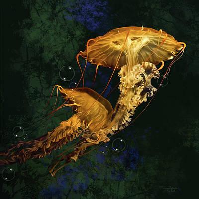 Digital Art - Sea Nettle Jellies by Thanh Thuy Nguyen