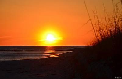 Photograph - 0212 Sea Oat Silhouette Sunset by Jeff at JSJ Photography