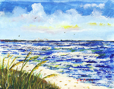 Sea Oats And Skyway Art Print by JC Prida