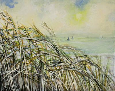 Sea Oats Sailboats Art Print by Michele Hollister - for Nancy Asbell
