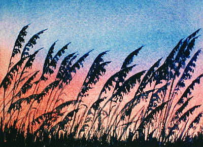 Sea Oats Silouette Art Print by Suzanne Krueger