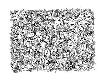 Fantasy Drawing - Sea Of Flowers And Seeds At Night Horizontal by Tamara Kulish