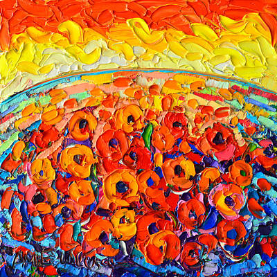 Sea Of Poppies At Sunset - Abstract Palette Knife Oil Painting By Ana Maria Edulescu Original