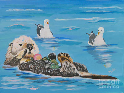 Painting - Sea Otter And Guardians by Phyllis Kaltenbach