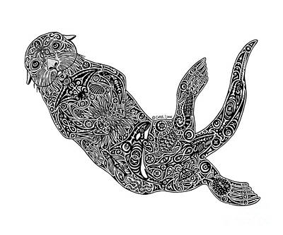 Scuba Diving Drawing - Sea Otter by Carol Lynne