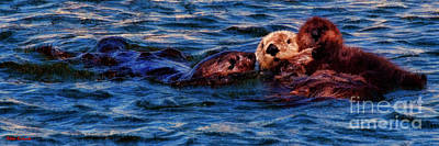 Photograph - Sea Otter Family by Blake Richards