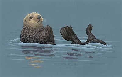 Otter Painting - Sea Otter by Nathan Marcy