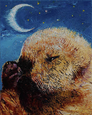 Otter Painting - Sea Otter Pup by Michael Creese