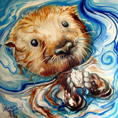 Painting - Sea Otter Swim by Marcia Baldwin