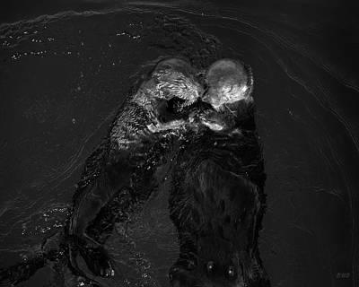 Sea Otters II Bw Art Print