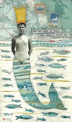 Mermaids Wall Art - Painting - Sea Queen by Casey Rasmussen White