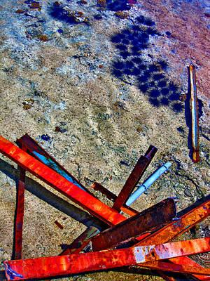 Sea. Rusty Iron And Sea Urchins.  Art Print by Andy Za