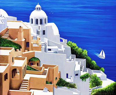 The Cross Painting - Sea Serene, Santorini - Prints Of Original Oil Painting by Mary Grden's Baywood Gallery