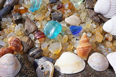 Photograph - Sea Shells Art Prints Blue Seaglass Sea Glass Coastal by Baslee Troutman Art Prints