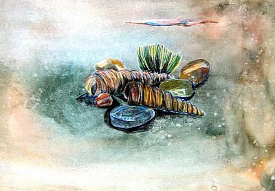 Sea Shell Drawing - Sea Shells by Mindy Newman