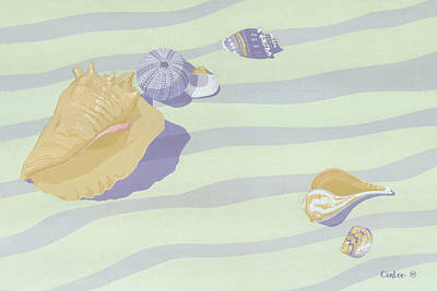 Sea Shells - Seashells - Abstract - Retro - Pop Art - Beach Decor - Beach Art - 1980s Painting Original by Walt Curlee
