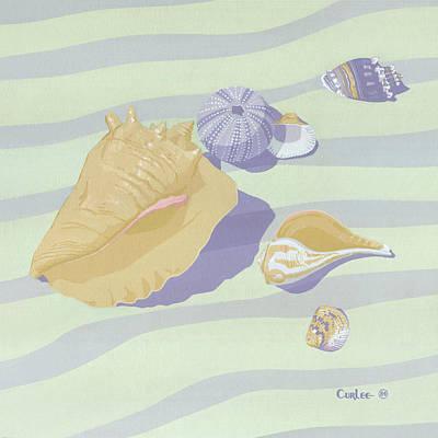 Sea Shells - Seashells - Retro - Pop Art - Beach Decor - Square Format - 1980s Painting Art Print by Walt Curlee