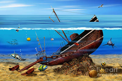 Sea Shipwreck In The Depths Art Print