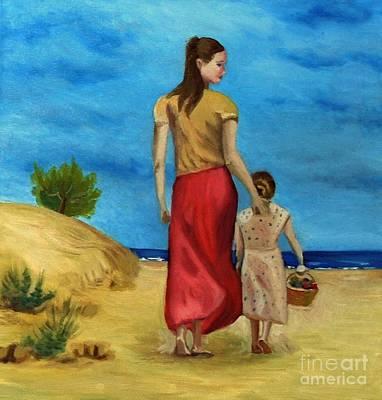 Sea Side Walk After Pino Art Print by Kostas Koutsoukanidis