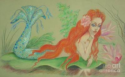 Drawing - Sea Siren, Resting -- Whimsical Mermaid Drawing by Jayne Somogy
