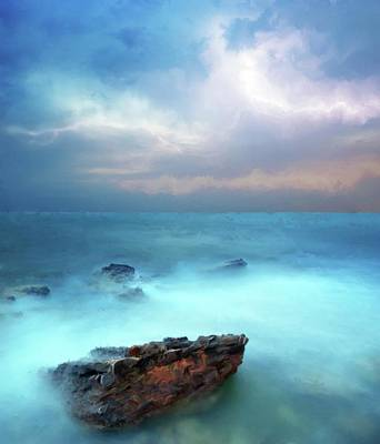 Lightning Digital Art - Sea Sky And Stone by Michael Greenaway