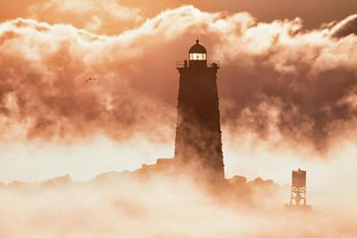 Sea Smoke At Whaleback Lighthouse Art Print
