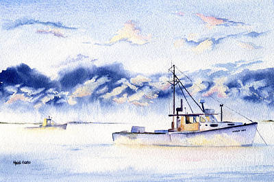 Lobster Boat Maine Painting - Sea Smoke by Heidi Gallo