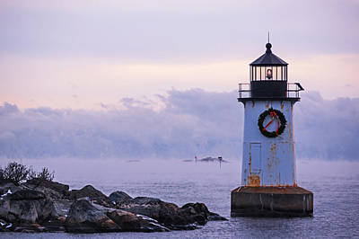 Photograph - Sea Smoke On A Frigid Day On Winter Island Salem Ma Pickering Light by Toby McGuire