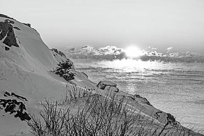 Photograph - Sea Smoke On Castle Island Marblehead Ma Sunrise 2 Black And White by Toby McGuire