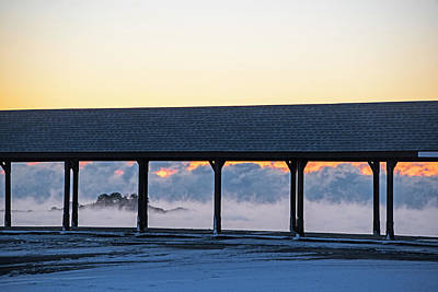 Photograph - Sea Smoke On Devereaux Beach Marblehead Ma Sunrise Walkway by Toby McGuire