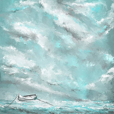 Sea Spirit - Lighter Version - Teal And Gray Art  Print by Lourry Legarde