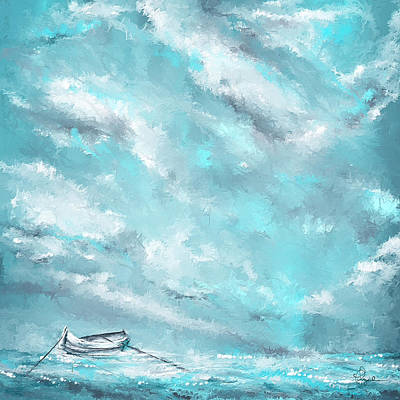 Sea Spirit - Teal And Gray Art Print by Lourry Legarde
