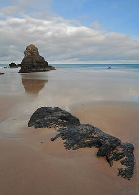Sea Stack And Jurassic Looking Rock On Sango Bay Art Print by Maria Gaellman