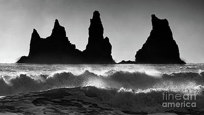 Photograph - Sea Stacks In Ruff Surf Bw by Jerry Fornarotto