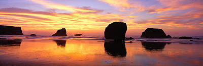 Sea Stacks Rock Formations, Sunset Art Print by Panoramic Images