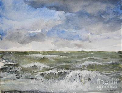 Art Print featuring the painting Sea Storm by Sibby S